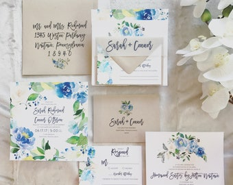 Sarah Watercolor Floral Wreath Wedding Invitation Suite with Vellum Band - Shades of Blue paired with Kraft Brown (customizable)