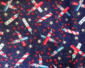Fireworks Cotton Quilting Fabric Firecrackers Fourth of July