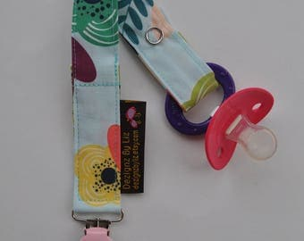 Baby Soother Pacifer Snap Clip in Aqua Pink Flower Print with Clip