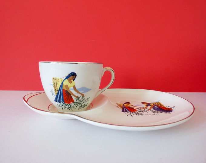 Ceylon Tea Cup saucer side Plate Alfred Meakin England