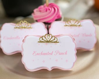pink princess 1st birthday - pink and gold buffet labels - princess birthday food sign - pink princess buffet labels - princess buffet label