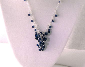 Swarovski 'Fountain' Necklace, Deep Blue Necklace, Dark Indigo Crystal and sterling necklace, bridal blue necklace, blue fountain