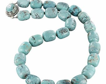 Summer Sale : ) Sky Blue Chinese Turquoise Necklace Barrel Beads 14x16mm