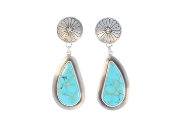 KINGMAN TURQUOISE Earrings Large Teardrops Southwest NewWorldGems