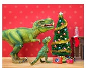 FALL SALE Funny Christmas dinosaur decor - The Holly and the T. Rex