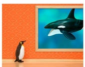 30% OFF SALE Penguin and whale print: Emperor Penguin