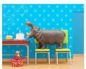 35% OFF SALE Hippo animal art print: Hungry, Hungry Hippo