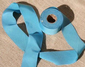 Vintage Bias Tape Roll Turquoise Blue Ribbed