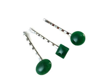 Set of Three Green Bobby Pins, Green Accessories for Women Gifts, Stylish Hair Pin Silver, Dark Green Cabochon Hair Accessories for Updos