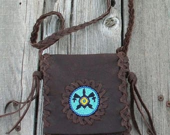 ON SALE Leather passport bag , Beaded turtle bag ,  small leather bag , boho native style