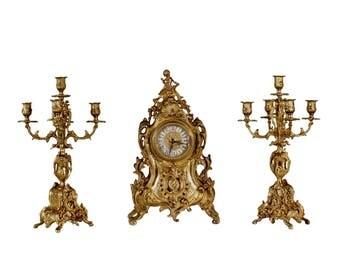 Original gilt bronze mantel set early 900s gilt, bronze candelabras and clock
