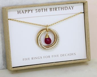 50th birthday gift, July birthstone necklace, ruby jewelry, meaningful gift for 50th - Lilia