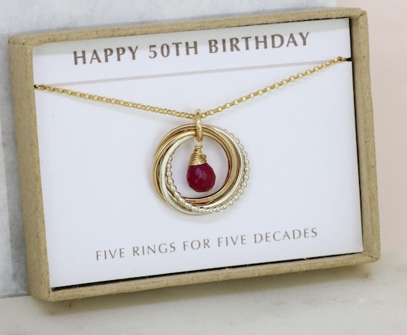 50th birthday gift july birthstone necklace ruby jewelry