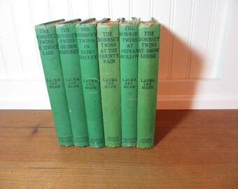 6 Vintage Bobbsey Twins Books, Home Decor, Staging, Collectible, Green Books, BK101