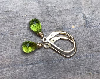 Peridot Stone Earrings. Gold fill sterling silver or rose gold. August birthday