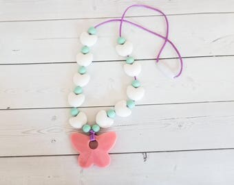Baby Silicone Teething Necklace - Nursing Necklace - Silicone Teether - Baby Chewelry - Chew Necklace - Mommy Necklace - Mother's Day Gift