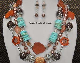 Western Howlite Turquoise Necklace Set - Triple Strand Statement Necklace - Turquoise and Brown Necklace - Boho Necklace - RUSTIC ROMANCE 2
