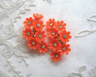 Vintage Plastic & Rhinestone Flower Earrings ~ Orange ~ Clip On