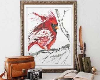 Watercolor Print Cardinal Art Cardinal Gifts Inspirational Gifts Watercolor Bird Prints Bird Nerd  Gift Housewarming Gift Bereavement Gifts