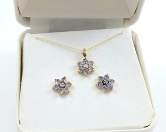 Yellow Gold 10k Tanzanite Earrings Necklace Set in Box 19 Inch Chain Flower Shaped Stud Earrings Solid Gold Vintage Fine Jewelry Gift Set