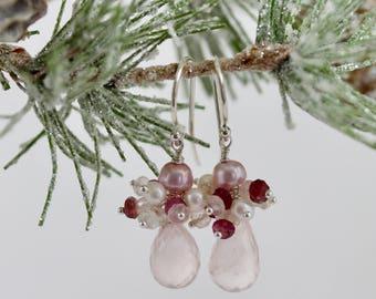 Pearl Rose Quartz Drop Earrings, Pink, Rose Quartz Drop Earrings, Sterling Silver, Winter Gem Collection, Anastasia, Rose Glow