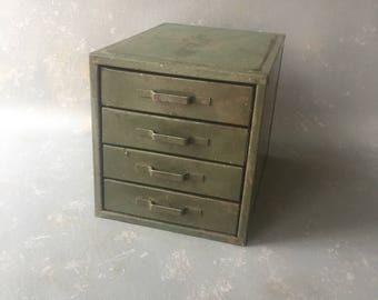 Vintage Metal Parts Drawers, Wards, Green, small parts drawers, industrial, storage