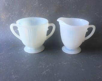 Vintage  Milk Glass Sugar Creamer set, white, small