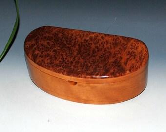 Handmade Kidney Shaped Wooden Box, Wood Jewely Box, Desk or Treasure Box - Redwood Burl on Cherry - USA made by BurlWoodBox - Wooden Box