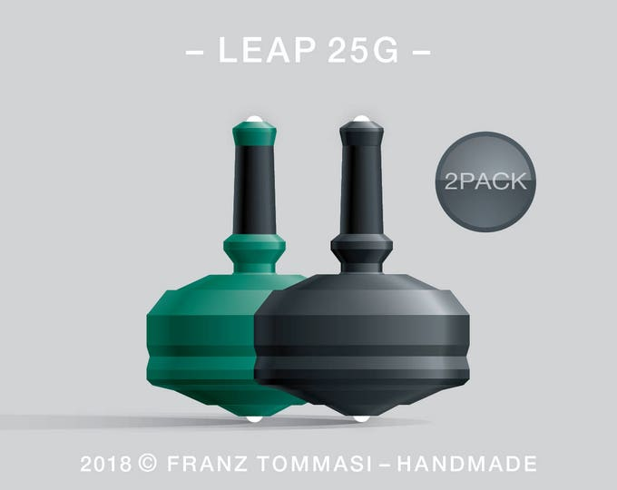LEAP 25G 2PACK Green-Black – Value-priced set of precision handmade spin tops with dual ceramic tip and integrated rubber grip