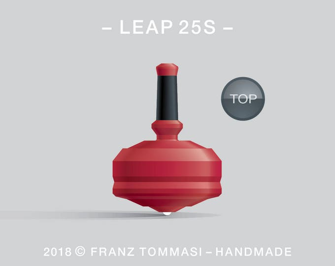 LEAP 25S Red – Precision handmade spin top with ceramic tip and integrated rubber grip