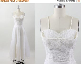 1950s dress - 50s tulle lace party dress - shelf bust dress - wedding dress - xxs xs