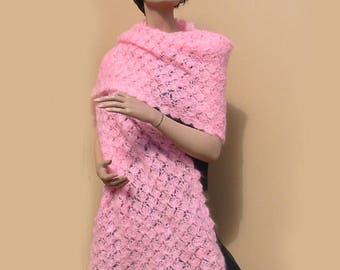1970's Pink Mohair Crochet Knit Shawl
