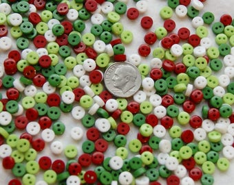 100 Buttons, Red, Greens, White, Tiny Buttons, 6 mm Small Buttons, Doll Buttons (ZZ 40)