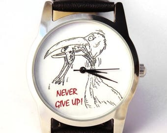 ON SALE 25% OFF Watch Never Give up, mens watches unisex watches