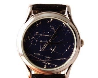 ON SALE 25% OFF Vintage Constellation Watch Leather Watch Ladies Watch Mens Watch Gift Idea Custom Watch Fashion Accessory Northern Hemisphe