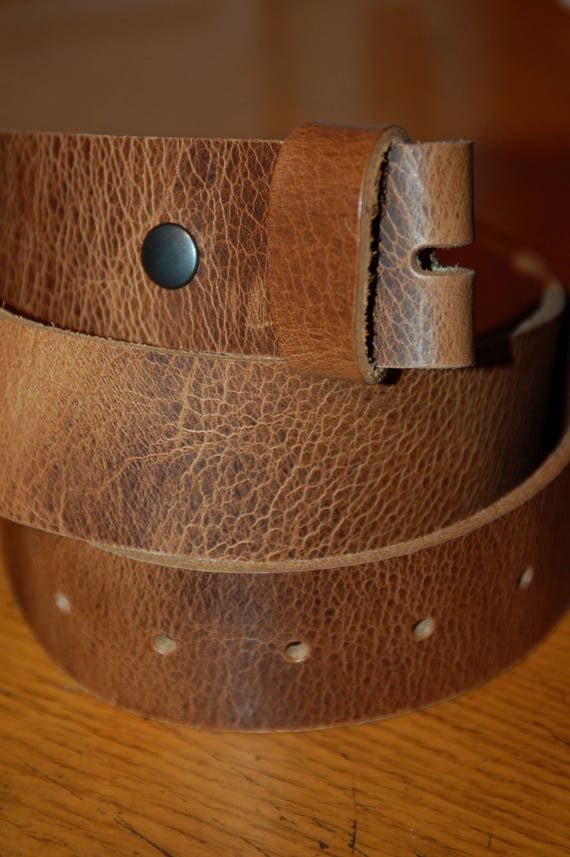 """Distressed Leather Snap Belts Oiled Buffalo Leather Belt for Suits Jean Belt Custom Cut for Your Waist Size Leather Snap Belts 1.5"""" or 1.25"""""""
