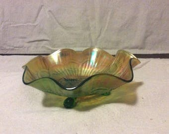 Vintage Carnival Glass footed dish by Northwood