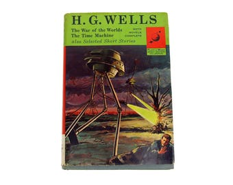 H G Wells Book War of Worlds & Time Machine Atomic Dust Jacket Platt Monk Great Writers Collection Science Fiction Space Art Work