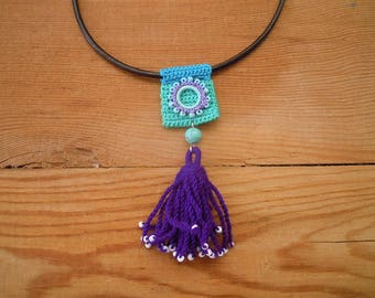 crochet and leather necklace, green turquoise purple tassel, leather cord