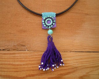 blue and purple tassel necklace, crochet
