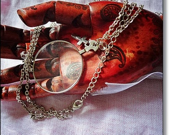 Steampunk Necklace, Optical Lens Pendant Necklace, Gothic Lanyard, Victorian London Ripper Look, Magnifying Lens, Gothic Pendant, Handmade