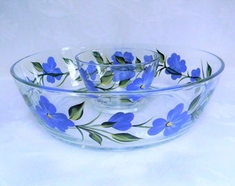Chip and dip bowl, hand painted chip and dip bowl, serving bowls, chip and dip set, glass bowls, blue flowers