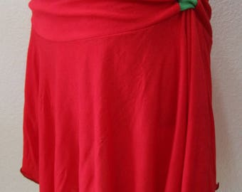 Red color with kiwi green trim mini skirt with gathered design plus made in USA(vn83)