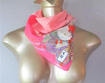50% OFF SALE Vintage Ladies ASAIN Scarf / Pink Red and White Blossoms Floral Square Style Scarf