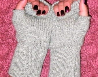 Baby alpaca fingerless gloves, wrist warmers