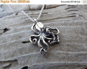 ON SALE Octopus necklace in sterling silver