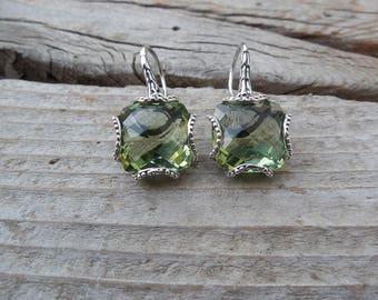 Gorgeous green amethyst earrings handmade in sterling silver 925