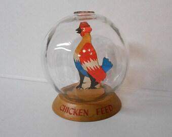 Vintage CHICKEN Bank BUBBLE BANK Chicken Feed Bank Vic Moran Bubble Bank Money Meter Back Retro Kitchen Decor Kitschy Fun 1940's Farm Bank
