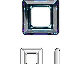 Swarovski frames, undrilled, Bermuda Blue, 14mm, 2 shapes - #2272/2277