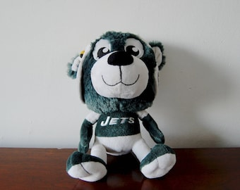 Vintage Jets Doll - Vintage Jets Stuffed Animal - NY Jets Memorabilia - Jets Collectible - 1980s Jets Toy - Teddy Bear Football Player